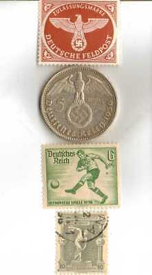 #-2)-1936-*german  Olympic and WWII stamps/coin(.900%)+1896-*greek Olympic stamp