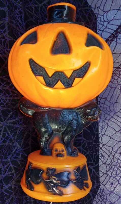 """Empire Vintage 14"""" Tabletop Pumpkin Black Cat Blow mold Skull Witches 3"""