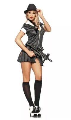Be Wicked Mafia Mistress Costume Women Size S/M 4-8 Sexy Mobster Hat, Dress, Tie](Women Mafia Costume)