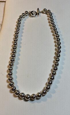 """Ralph Lauren Silver Bead Necklace 15""""choker"""