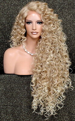 Lace Front wig Exotic Extra Long Full Tight Curly Blonde Heat Safe DOM - Tight Blonde