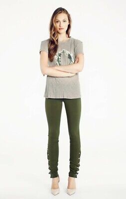 Wildfox Womens Scripted Snap Leggings Olive Green XS New Snap-leggings