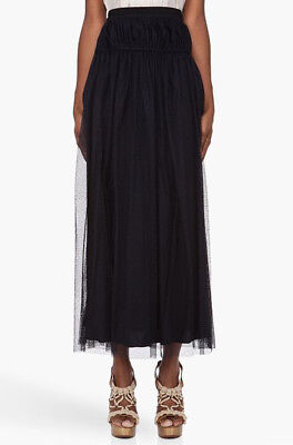 [Carven] Black Netted Maxi Long Skirt Sz 38 / New with Tag