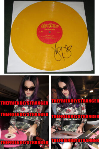 """KATY PERRY signed Autographed """"ONE OF THE BOYS"""" YELLOW VINYL RECORD - PROOF COA"""