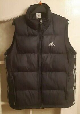 Adidas Mens Thick Quilted Puffer Gilet Size Navy Blue Good Condition