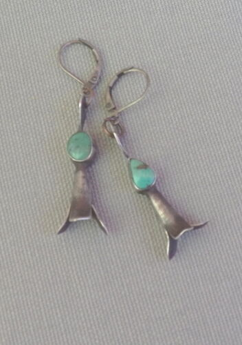Vintage Silver Turquoise Drop Dangle Squash Earrings Sterling Leverback Wires