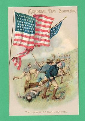 VINTAGE PATRIOTIC MEMORIAL DAY POSTCARD THE CAPTURE OF SAN JUAN HILL SOLDIERS