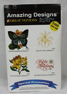 Amazing Designs Sewing Machine Embroidery Pack Disk Butterfly Lace Christmas Flw for sale  Shipping to Nigeria
