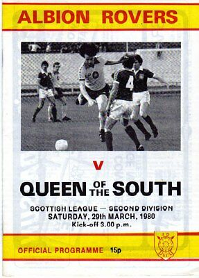 ALBION ROVERS  V  QUEEN OF THE SOUTH 29/3/1980 scottish league PROGRAMME