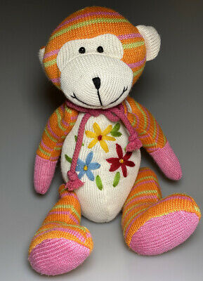 "Orange Stripe Knit Plush Monkey Stuffed Animal 12"" Soft Baby Toy Flowers Button"