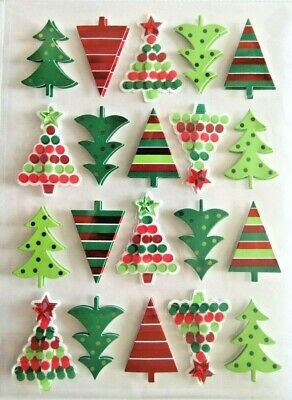 Geo Christmas Trees Cardstock & Acetate PC 3D Stickers
