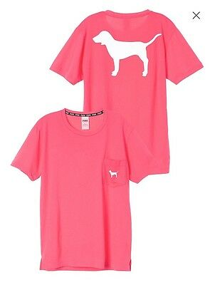NEW Victoria's Secret PINK Campus Pocket Tee Shirt Small-Coral Color White Dog