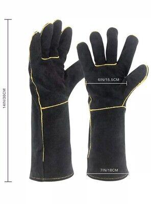 Premium Leather Welding Gloves Cow Split Durability Heat Fire Resistant Welder