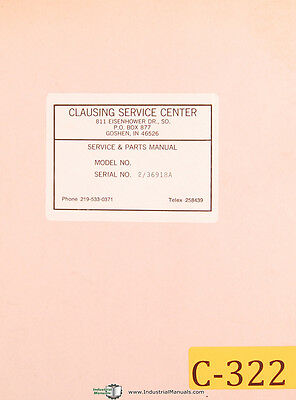 Clausing Colchester 13 Lathe 25303 To 40723 Operations Parts Manual 1965