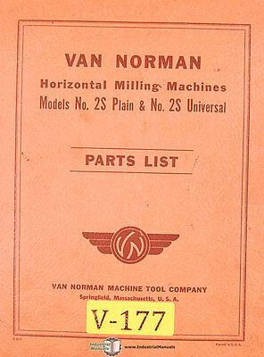 Van Norman 2s Plain Universal Horizontal Milling Parts Manual