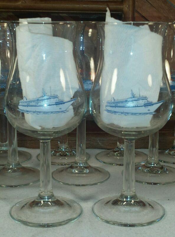 NORWEGIAN CRUISE LINES Vintage Wine Tulip Glass Set of 2