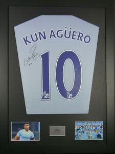 Sergio Aguero Manchester City Signed Shirt framed display with coa