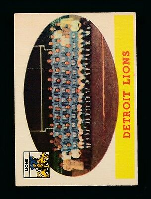 Lions Team Card (1958 Topps Football #115 Detroit Lions Team Card Vg c04465 )