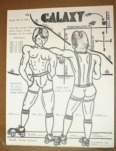 Vintage 1979 Flyer for Galaxy Gay Roller Skating Night, Fullerton,CA-Orange Co