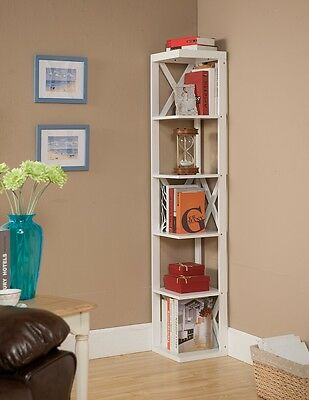 Kings Brand White Finish Wood Wall Corner 5 Tier Bookshelf Display Stand ~New~