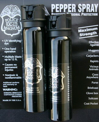 2 Police Magnum mace pepper spray 5 ounce Flip Top Defense Seurity Protection