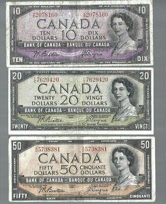 ✨Canada ✨1954 QEII ✨$10 $20 $50 Beattie/Coyne 😮😮😮