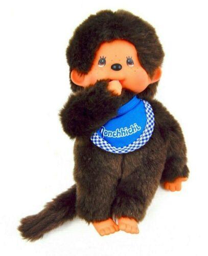 "RARE Sekiguchi Monchhichi Boy Plush Doll Stuffed Blue Bib & Bottle 8"""
