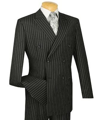 Men's Black Pinstripe Double Breasted 6 Button Classic Fit Suit NEW Gangster (Gangster Suits)