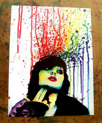 8x10 Art Print Colorful Edgy Smoking Girl Colorful Pop Art Punk Girl Painting