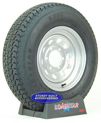 "(2)- LoadStar Trailer Tires ST 225/75D15 Silver Gray Mod 6 Bolt H78-15 15"" Wheel"