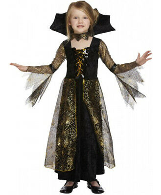 Vampire Girl Outfits (GIRLS VAMPIRE SPIDERELLA FANCY DRESS COSTUME KIDS CHILD HALLOWEEN PARTY)