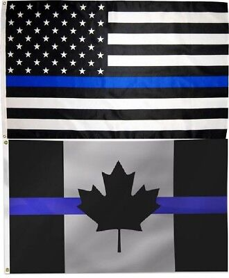 Wholesale Combo LOT 3' X 5' USA & Canada Thin Blue Line Police Memorial FLAG 3X5