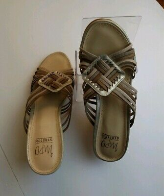 impo stretch wedge sandals peek toe bronze tan brown womens size 10. Worn Once