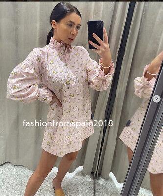 ZARA NEW WOMAN SHORT FLORAL PRINTED SHIRT DRESS RUFFLED PINK XS-XXL 2293/131