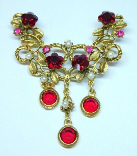 Lovely Tiara Style Red Flower Cut Rhinestones Pearl Gold Tone Flower Brooch Pin