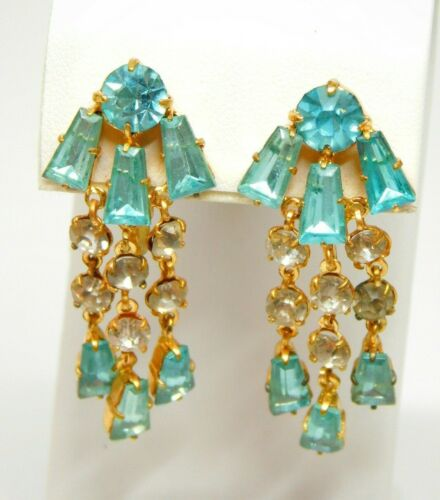 Vtg Gold Tone Blue Czech Glass Screw On Dangle Earrings Czechoslovakia Signed