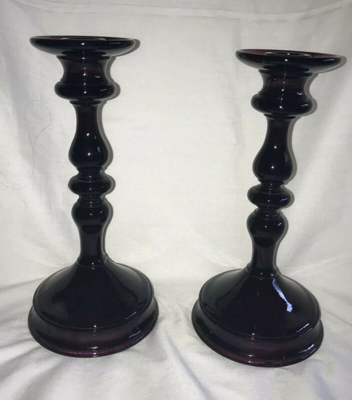 VINTAGE IMPERIAL AMETHYST GLASS CANDLESTICKS