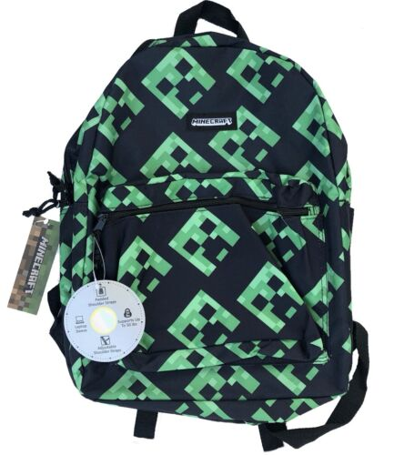 "Minecraft Backpack 16"" Creeper All Over Print School Book Bag Laptop Sleeve"