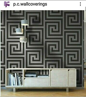Versace Style Greek Key Black & Silver Wallpaper