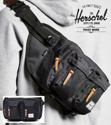NEW Herschel Supply Co. Eighteen BLACK Crossbody Sling Bag Hip Fanny Pack hiking