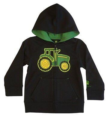 NEW John Deere Toddler Black Zip Poly Fleece Hoodie Tractor Sweatshirt 2T 3T 4T  John Deere Poly Fleece
