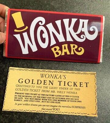 Willy Wonka Chocolate Bar Gift Novelty Item Golden Ticket Children 100g BIG BAR