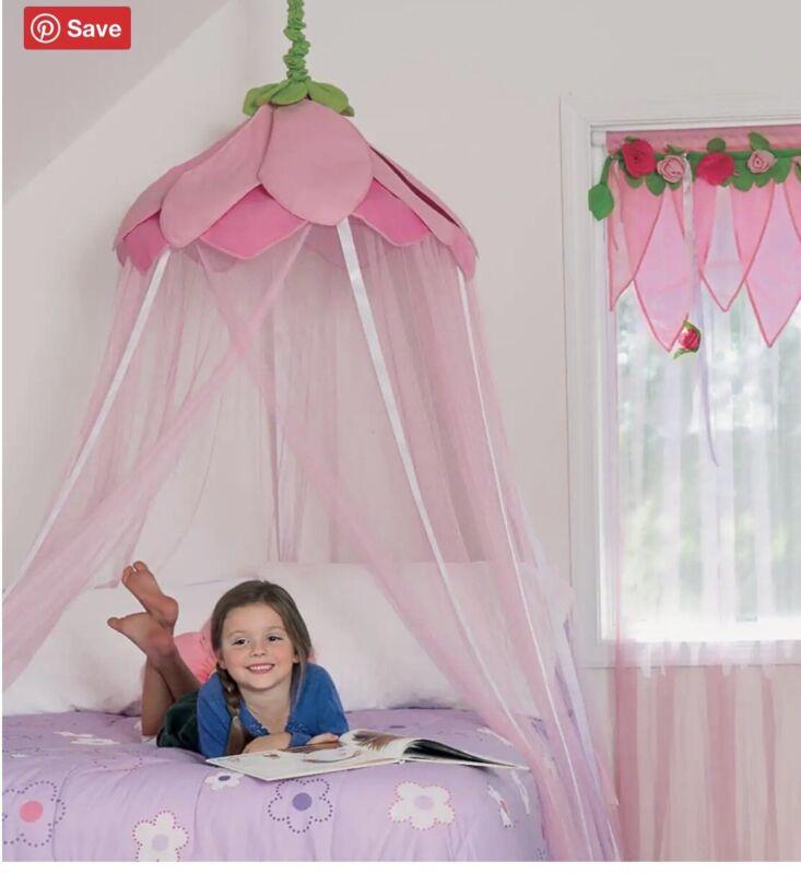 Hearth Song Sheer Canopy Secret Garden Hideaway Pink Flower HTF Bed Curtain