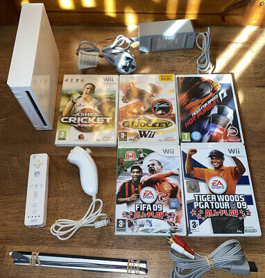 Nintendo Wii Console And Sports Games Bundle Golf Racing Football Horse Racing +