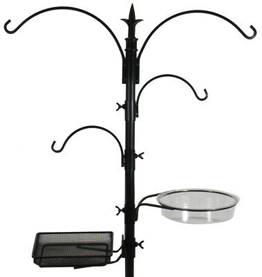 4-Hook Bird Feeding Station - Wild Bird Feeder Stand w/ Mesh Tray & Water Bowl