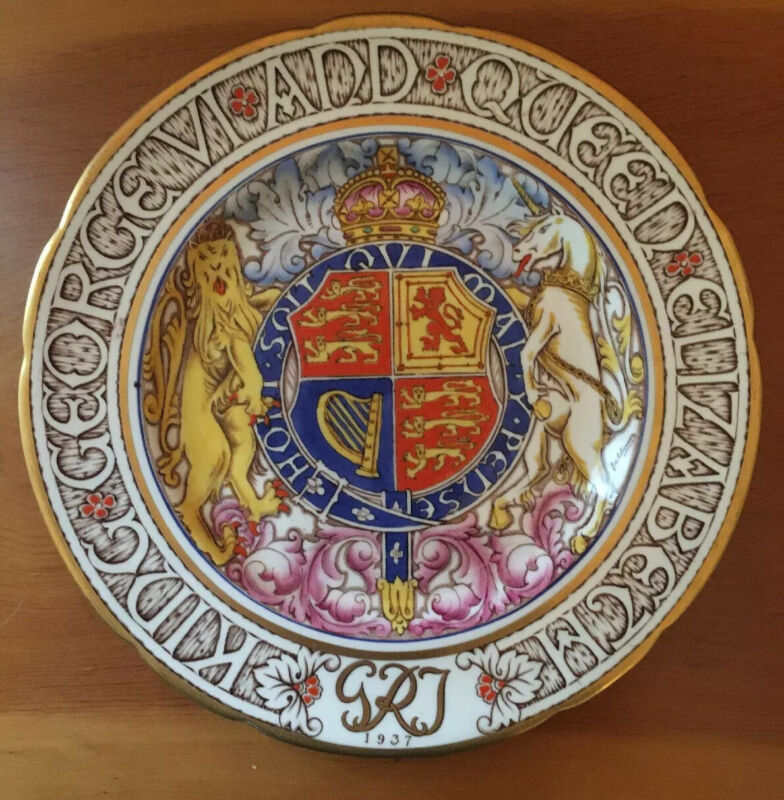 * Rare PARAGON 1937 Art Deco Coronation Plate KING GEORGE VI & Queen Elizabeth *
