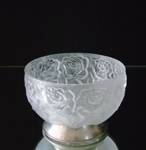 Frosted Lead Crystal Bowl Raised Rose Pattern Silver Plated Base