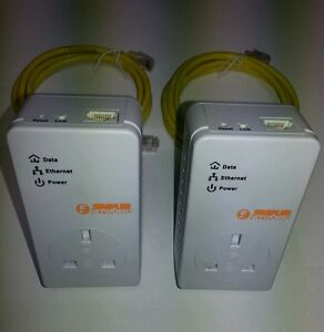 2 x BT Simpler Networks Powerline Adapters (MATCHED PAIR) + 2 x Ethernet Cables