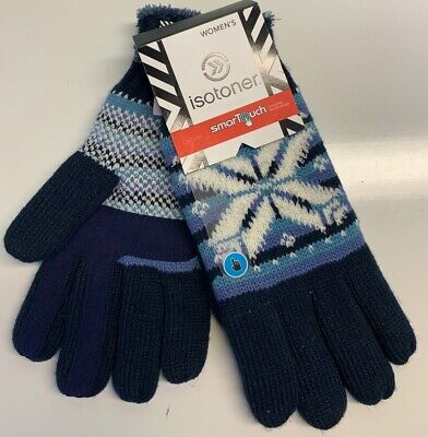 Isotoner Women's Casual SmarTouch Gloves- Navy Snowflake- One Size. NWT