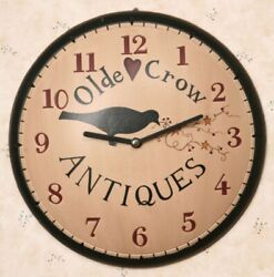 Primitive Olde Crow Antiques Wall Clock Wood Pip Berries and Stars Black Red 11